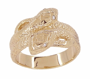 Men's Double Serpent Snake Ring with Diamond Eyes in 14 Karat Rose Gold - Item R897R - Image 1