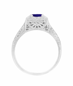 Filigree Scrolls Engraved Art Deco Blue Sapphire Engagement Ring in 14 Karat White Gold - Click to enlarge