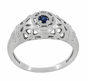 Art Deco Filigree Blue Sapphire Ring in 14 Karat White Gold - Item R335 - Image 2