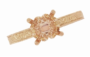 Art Deco 1/3 Carat  Crown Scrolls Filigree Engagement Ring Setting in 14 Karat Rose Gold - Click to enlarge