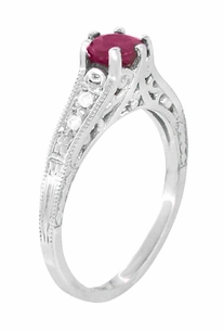 Ruby and Diamond Filigree Engagement Ring in Platinum, Art Deco Vintage Ruby Engagement Ring Design - Item R191P - Image 2