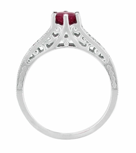 Ruby and Diamond Filigree Engagement Ring in Platinum, Art Deco Vintage Ruby Engagement Ring Design - Item R191P - Image 3