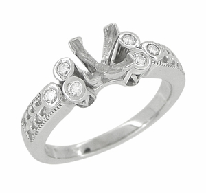 Eternal Stars 3/4 Carat Princess Cut Diamond Engraved Fleur De Lis Engagement Ring Mounting in 14 Karat White Gold - Item R841 - Image 1