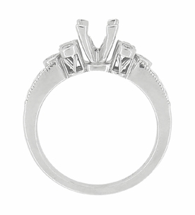 Eternal Stars 3/4 Carat Princess Cut Diamond Engraved Fleur De Lis Engagement Ring Mounting in 14 Karat White Gold - Click to enlarge