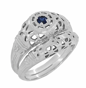 Art Deco Filigree Blue Sapphire Ring in 14 Karat White Gold - Click to enlarge