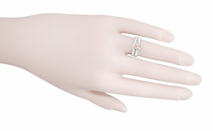 Art Deco Royal Crown Antique Style 1 Carat Morganite Engraved Engagement Ring in 18 Karat White Gold - Item R460WM - Image 5