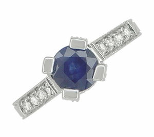 Art Deco Blue Sapphire Engraved Castle Engagement Ring in Platinum - Click to enlarge