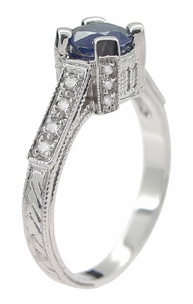 Art Deco Blue Sapphire Engraved Castle Engagement Ring in Platinum - Item R665S - Image 4