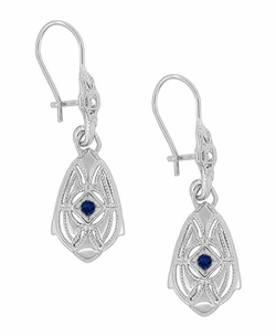 Art Deco Dangling Sterling Silver Sapphire and Diamond Filigree Earrings - Item E178WS - Image 1