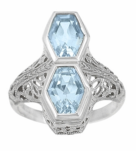 Art Deco Blue Topaz Loving Duo Filigree Ring in Sterling Silver - Click to enlarge