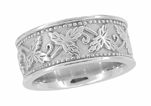 Grapes and Grape Leaves Heavy Wide Wedding Band in 14 Karat White Gold | 8mm | Ring Size 6 - Item R806 - Image 1