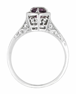Art Deco Amethyst Engraved Filigree Engagement Ring in 14 Karat White Gold - Click to enlarge