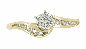 Cascading Diamonds Estate Engagement Ring in 14 Karat Yellow Gold - Click to enlarge