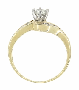 Cascading Diamonds Estate Engagement Ring in 14 Karat Yellow Gold - Item R786 - Image 3