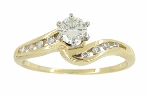 Cascading Diamonds Estate Engagement Ring in 14 Karat Yellow Gold - Item R786 - Image 4