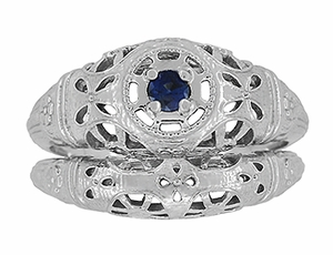 Art Deco Filigree Blue Sapphire Ring in 14 Karat White Gold - Item R335 - Image 7
