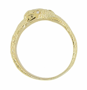 Men's Double Serpent Snake Ring with Diamond Eyes in 14 Karat Yellow Gold - Click to enlarge