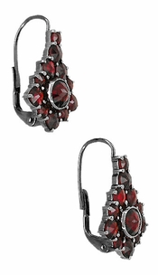 Victorian Bohemian Garnet Earrings in Antiqued Sterling Silver - Item AE144 - Image 1