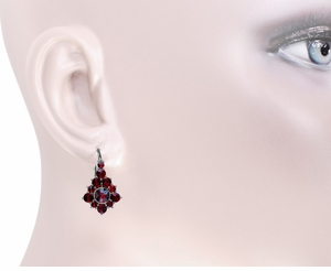Victorian Bohemian Garnet Earrings in Antiqued Sterling Silver - Item AE144 - Image 2
