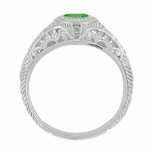 Art Deco Engraved Tsavorite Garnet and Diamond Filigree Engagement Ring in 14 Karat White Gold - Item R138TS - Image 1