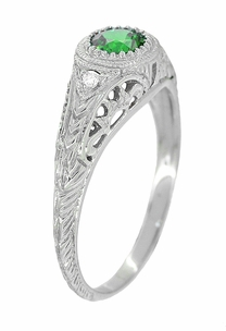 Art Deco Engraved Tsavorite Garnet and Diamond Filigree Engagement Ring in 14 Karat White Gold - Click to enlarge