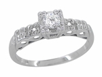 Art Deco Diamond Engagement Ring in 14 Karat White Gold