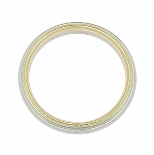 4mm Wide Millgrain Two Tone Comfortable Fit Wedding Band in 14 Karat White and Yellow Gold - Click to enlarge