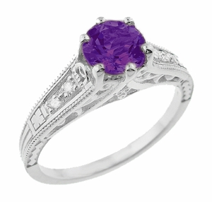 Amethyst and Diamond Filigree Engagement Ring in 14 Karat White Gold - Item R158AM - Image 1