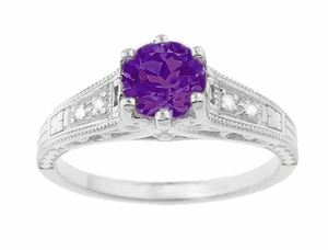 Amethyst and Diamond Filigree Engagement Ring in 14 Karat White Gold - Item R158AM - Image 4