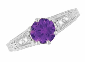 Amethyst and Diamond Filigree Engagement Ring in 14 Karat White Gold - Click to enlarge