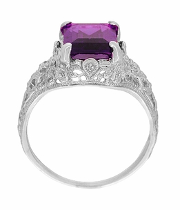Edwardian Filigree Emerald Cut Amethyst Engagement Ring in 14 Karat White Gold - Click to enlarge