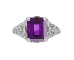 Edwardian Filigree Emerald Cut Amethyst Statement Ring in 14 Karat White Gold - Item R618AM - Image 3