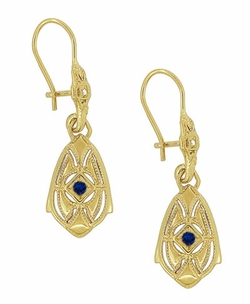Art Deco Dangling Sterling Silver Blue Sapphire and Diamond Filigree Earrings with Yellow Gold Vermeil - Click to enlarge