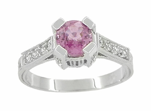 Art Deco Pink Sapphire Castle Engagement Ring in 18 Karat White Gold - Item R663PS - Image 1