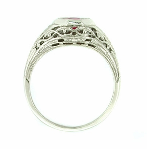 Art Deco Ruby Ring in 14 Karat White Gold - Click to enlarge