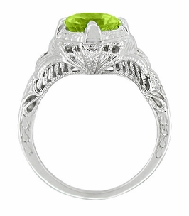 Art Deco Engraved Filigree Peridot Engagement Ring in 14 Karat White Gold - Click to enlarge