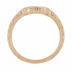 Vintage Engraved Wheat and Scrolls 14 Karat Rose Gold Curved Wedding Band - Item WR178R - Image 4