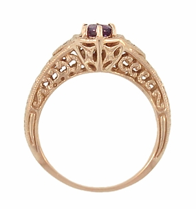 Art Deco Amethyst and Diamond Filigree Engraved Engagement Ring in 14 Karat Rose Gold - Click to enlarge