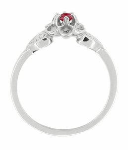 Flowers and Leaves Ruby Ring in 14 Karat White Gold - Click to enlarge