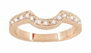 14 Karat Rose ( Pink ) Gold Engraved Wheat and Scrolls Curved Diamond Wedding Band - Click to enlarge