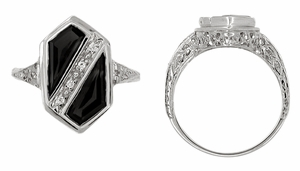 Art Deco Black Onyx and Diamond Shield Filigree Ring in 14 Karat White Gold - Click to enlarge