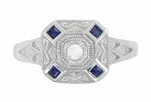 Art Deco Square Sapphires and Diamond Engraved Ring in 14 Karat White Gold - Item R908 - Image 1