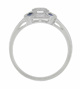 Art Deco Square Sapphires and Diamond Engraved Ring in 14 Karat White Gold - Click to enlarge