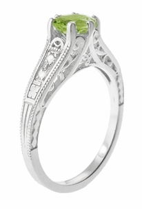 Filigree Peridot and Diamond Art Deco Engagement Ring in 14 Karat White Gold - Item R158PER - Image 2