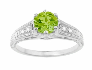 Filigree Peridot and Diamond Art Deco Engagement Ring in 14 Karat White Gold - Click to enlarge
