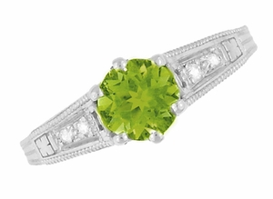 Filigree Peridot and Diamond Art Deco Engagement Ring in 14 Karat White Gold - Item R158PER - Image 5