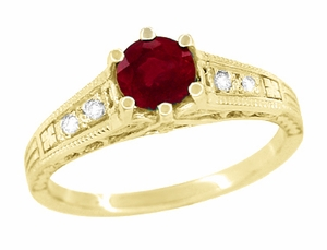 Ruby and Diamond Filigree Engagement Ring in 14 Karat Yellow Gold - Item R191Y - Image 1