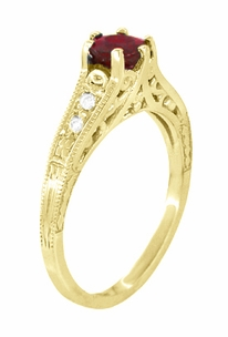 Ruby and Diamond Filigree Engagement Ring in 14 Karat Yellow Gold - Click to enlarge