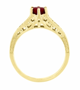 Ruby and Diamond Filigree Engagement Ring in 14 Karat Yellow Gold - Item R191Y - Image 4