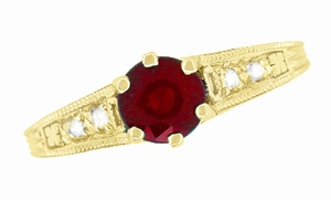 Ruby and Diamond Filigree Engagement Ring in 14 Karat Yellow Gold - Item R191Y - Image 5